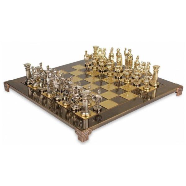 Jeu d'échecs Grecs Archers échiquier brun, pièces or, argent ou bronze