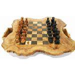 Echiquier : Table jeu d'échecs rustique en bois d'olivier