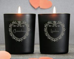 bougies gravees coeur  zoom