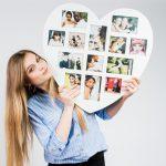 Cadre photo avec une forme de cœur