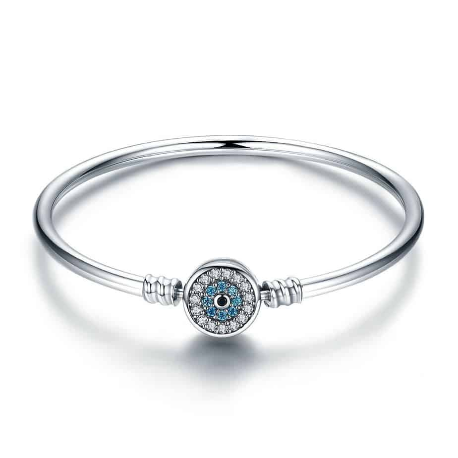 Bracelet argent massif motif Oeil bleu