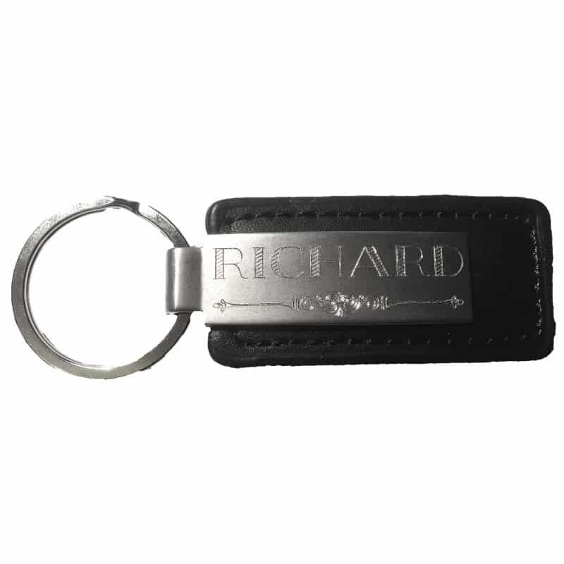 Porte-clés en cuir noir