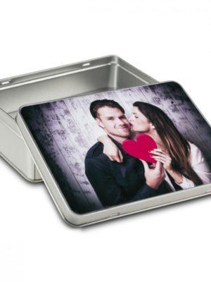 Boîte cadeau carrée avec photo