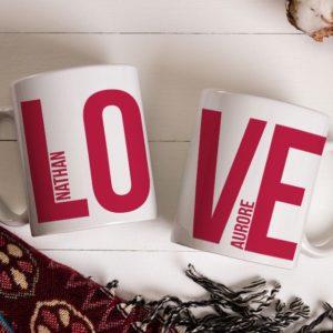 Lot de 2 Mugs Love personnalisés