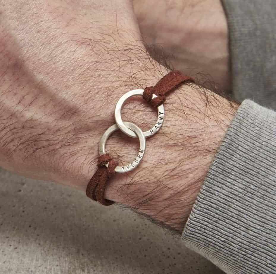 Bracelet en cuir double cerceau personnalisé pour hommes