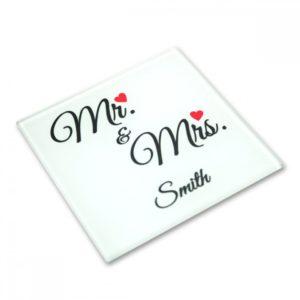 Dessous de verre M. et Mme personnalisable