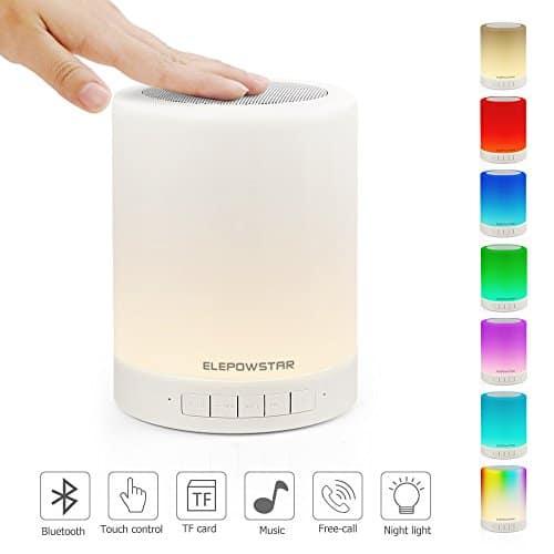 Veilleuse avec Haut-parleur Bluetooth, ELEPOWSTAR Portable LED Mood Light avec Capteur Tactile, 3 Soins avec 7 Changements de Couleurs, Crochet Design pour Camping, Cadeaux pour Enfants