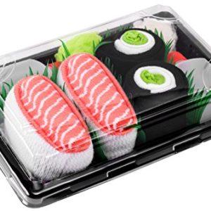 Sushi Socks Box – 2 paires de Sushi CHAUSSETTES en Coton: Saumon Nigiri Concombre Maki – CADEAU CRÉATIF pour Fammes et Hommes, Saumon, Concombre Maki, 36/40