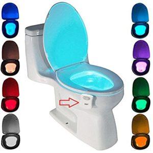 Lampe de Toilette, Veilleuse LED pour WC Salle de Bain Capteur Détecteur PIR 8 Changement de Couleurs Éclairage (seulement s\active dans l\obscurité)