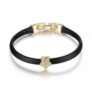 Elegant Crystal Embellished Leather Bracelet
