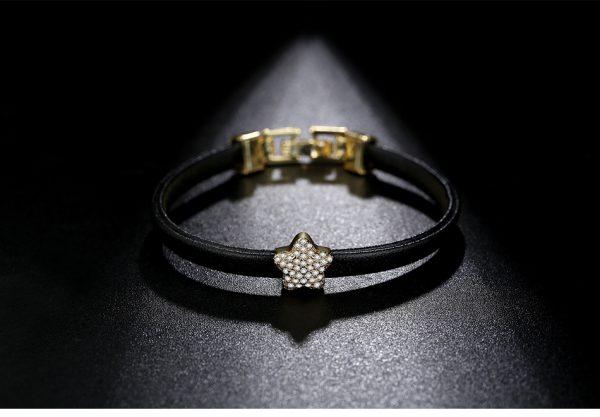 Elegant Crystal Embellished Leather Bracelet