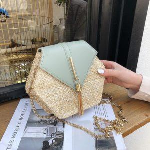 Women's Hexagon Shaped Straw Bag