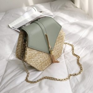 Women's Hexagon Shaped Straw Bag
