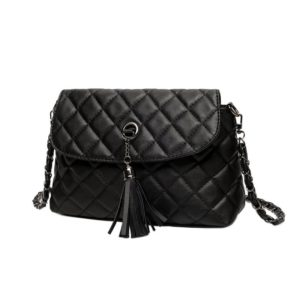Cute Compact Tasseled Black Leather Women's Crossbody Bag