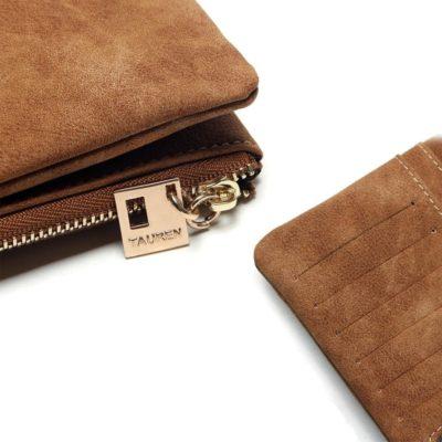 Portefeuille en cuir nubuck pour femmes