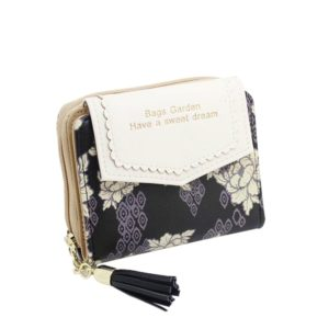 Portefeuille en cuir fleuri vintage pour femme