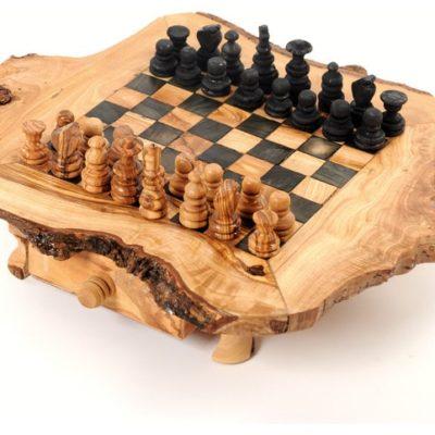 Table jeu d'échecs rustique en bois d'olivier