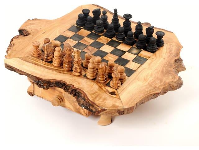Table d'échecs en bois d'olivier Échiquier