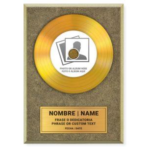 BABINYL GOLD  Authentique disque d'or personnalisé vinyle doré avec étiquette et gravure personnalisée