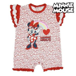 Barboteuse à Manches Courtes pour Bébé Minnie Mouse Rouge Blanc