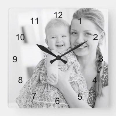 Horloge personnalisée photo style ronde