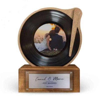 Trophée Disque Vinyle Noir Personnalisé