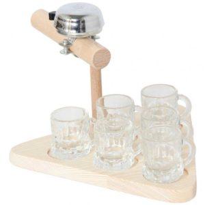 Truelle de maçon à sonnette avec 6 verres à shot