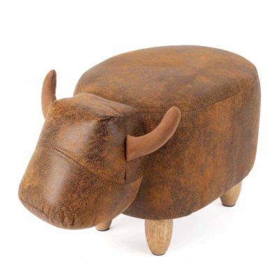 Tabouret de Vache en Simili-Cuir