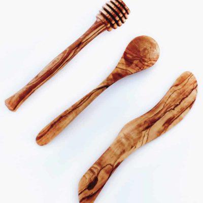 Set de petit-déjeuner en bois d'Olivier