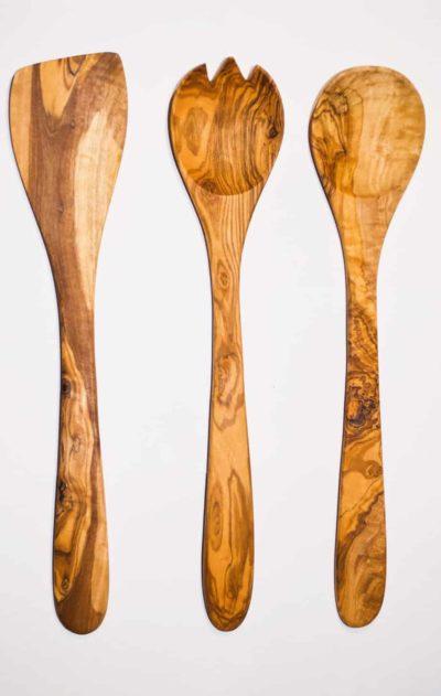 Set de 3 couverts en bois d'Olivier, Super idées cadeaux