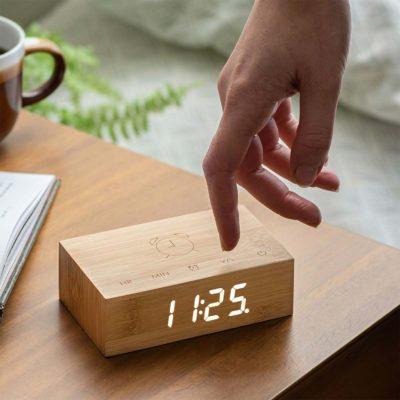 Horloge Réveil Flip Click Clock en Bois